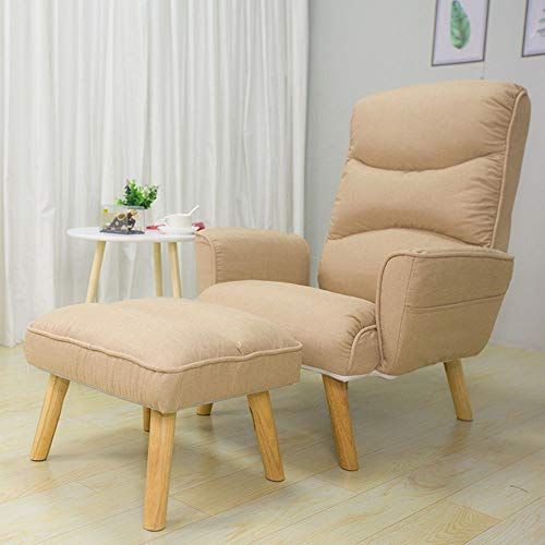 Wenzhihua Lounge Chair Folding Lazy Sofa Chair With Ottoman Modern Comfy Furniture For Living Room,Bedroom,Club,Office Lounge Armchair Living Room Office Indoor (Color : Khaki, Size : Free size)