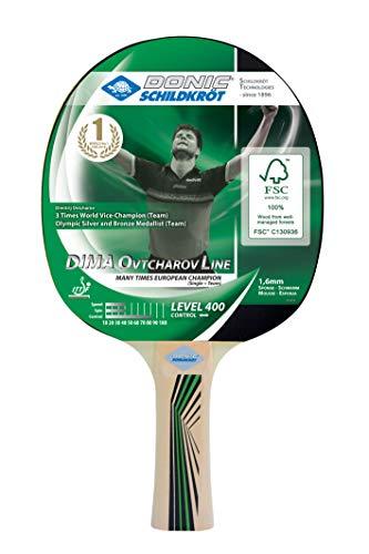 Donic-Schildkröt Raqueta de Tenis de Mesa Ovtcharov 400, Esponja de 1,6 mm, Madera de FSC, Almohadilla Jade-ITTF, 705242, Adultos Unisex, Negro, Talla única