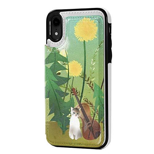 N/A Leder-Schutzhülle für iPhone XR, Kartenfächer, Kartenfächer, Kätzchen-Violinen-Druck, kratzfest, stoßfest, weiches TPU, Rundum-Schutzhülle für iPhone XR 6,1 Zoll