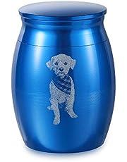 Jewelora Urnas Mascota Grabado Personalizado Cremación Urnas para Cenizas Pequeño Recuerdo para Cenizas Monumento Titular de Cenizas para Humanos Mascota Perro Gato Cenizas (Azul)