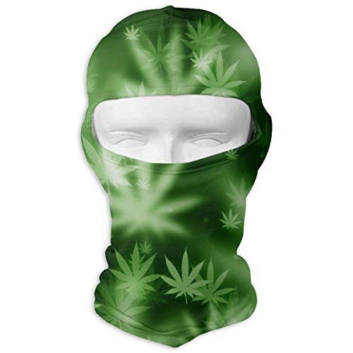 ALaze Pyschedelic Marijuana Leaf Weed Pot Leaf Balaclava Full Motorcycle Helmet Liner Respirant Sports Wind Proof Dust Head Hood
