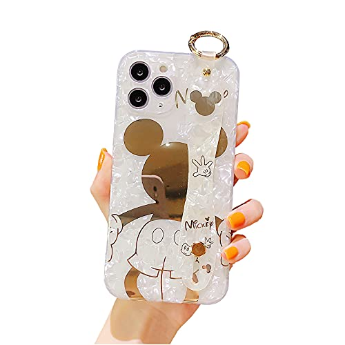 Filaco Cute Case for iPhone 11 Pro Max, Cartoon Golden Mickey Sparkle Bling Cover, Wrist Strap Kickstand Soft TPU Shockproof Protective Design Suitable for Women & Girls