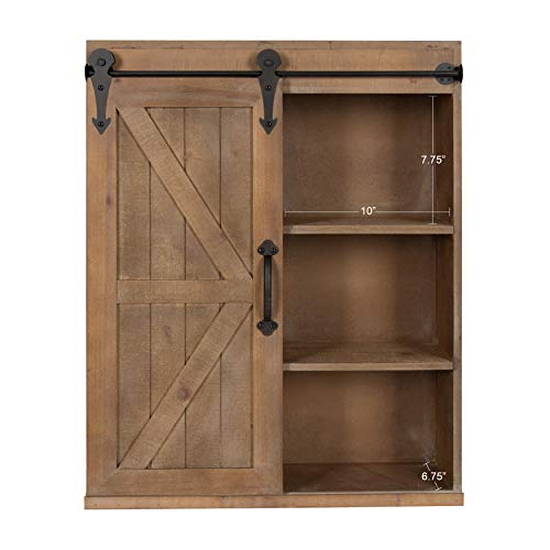 Kate and Laurel Cates Wood Wall Storage Cabinet with Sliding Barn Door, -