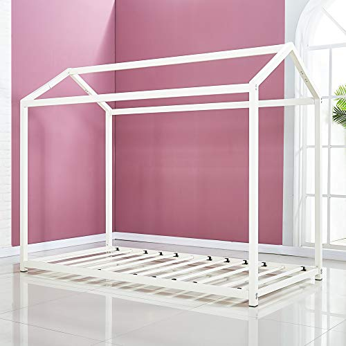 Product Image of the DIKAPA Twin House Bed Toddler Bed.Tent.Floor Bed/Metal Platform Mattress...