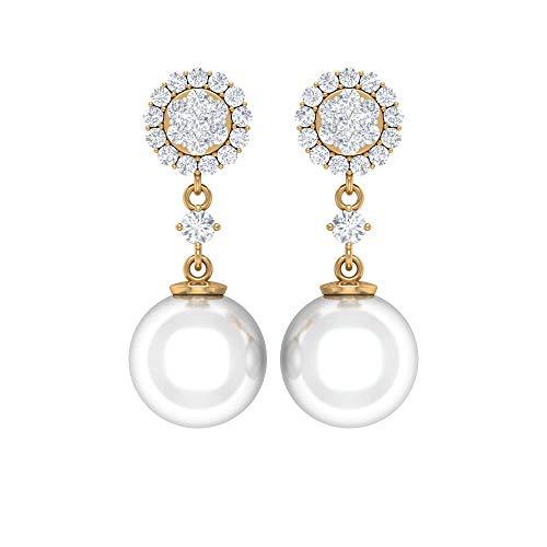Rosec Jewels 14 quilates oro amarillo redonda round-brilliant-shape H-I White Diamond Perla de agua dulce