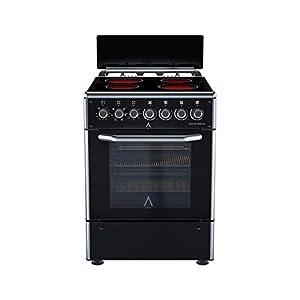 ALPHA Cocina Electrica VULCANO ZEUS-60 CRISTAL, Horno 9 funciones, cristal extraíble, Alta Gama**