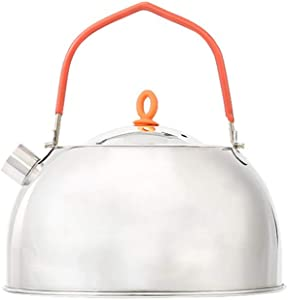 LIOOBO Stainless Steel Teapot Mini Outdoor Tea Coffee Pot Lightweight Water Burn Kettle Easy Carrying Tea Pot 0.6L for Outdoor Activities Camping Hiking Picnic BBQ