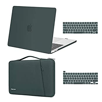 MOSISO Compatible with MacBook Pro 13 inch Case 2016-2020 Release A2338 M1 A2289 A2251 A2159 A1989 A1706 A1708 Plastic Hard Shell Case & 360 Protective Sleeve Bag & Keyboard Cover Skin,Midnight Green