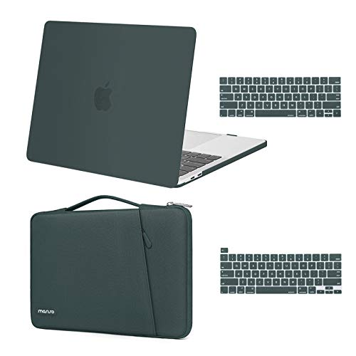 MOSISO Compatible with MacBook Pro 13 inch Case 2016-2020 Release A2338 M1 A2289 A2251 A2159 A1989 A1706 A1708, Plastic Hard Shell Case & 360 Protective Sleeve Bag & Keyboard Cover Skin,Midnight Green