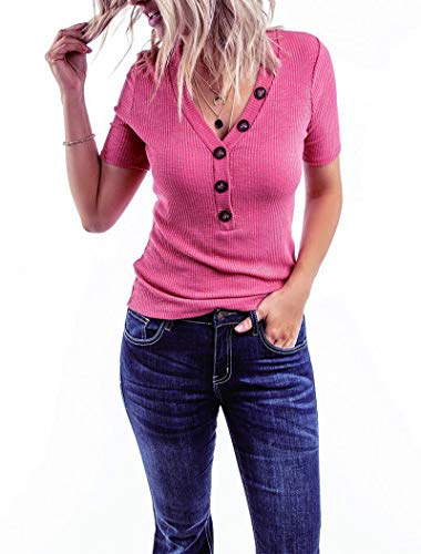 Minthunter Women's Short Sleeve T Shirts V Neck Shirts Ribbed Basic Henley Tops (Pink, Large)