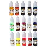 ZJL220 15 colores de resina epoxi tinte de resina líquida translúcida colorante no tóxico resina epoxi tinta pigmento kit resina joyería