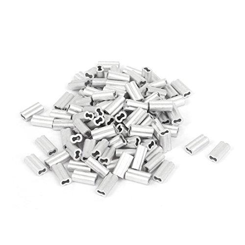 Sourcingmap® 1mm Drahtseil ALUMINIUM Ärmel Clip Beschläge Kabel verarbeitet 100 de