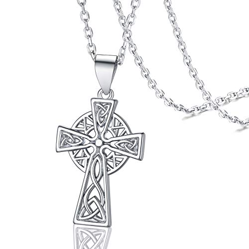 FaithHeart Cross Celtic Knot Necklace Sterling Silver Vintage Irish Jewelry Women Celtic Pendant Amulet Charms with Brand Packaging