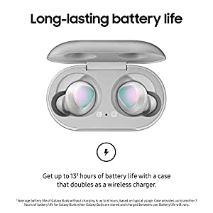 Samsung Galaxy Buds, Bluetooth True Wireless Earbuds (Wireless Charging Case Included), Silver - US Version with Warranty