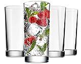 Godinger Highball Glasses, Italian Made Glass Tall Beverage Cups - 14oz, Set of 4
