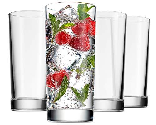 Godinger Highball Glasses Italian Made Glass Tall Beverage Cups  14oz Set of 4