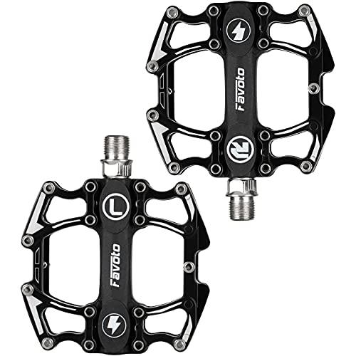 Favoto Pedales de Bicicleta Montaña, Pedales Bicicleta de Aleación de Aluminio Antideslizante con Cojinetes Sellados de Ciclismo, Rosca de 9/16' para Adultos BMX MTB Bicicleta de Carretera Urbana