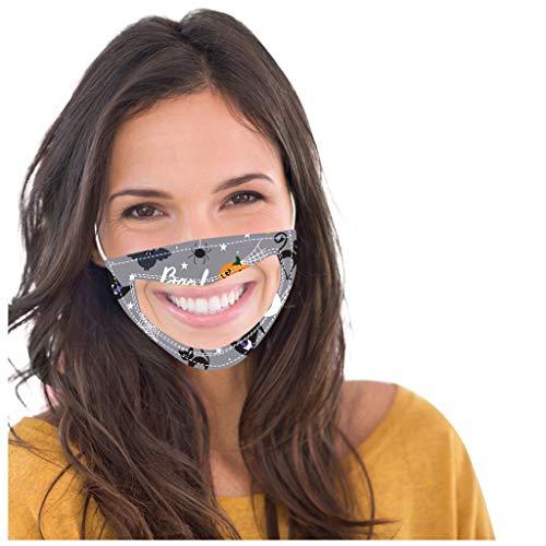 SHUANGA transparent Halloween Face Cover Multifunktionstuch Motorrad Winddicht Atmungsaktiv Mundschutz Halstuch Schön Atmungsaktiv Sommerschal Augenschutz Design für Taubstumm