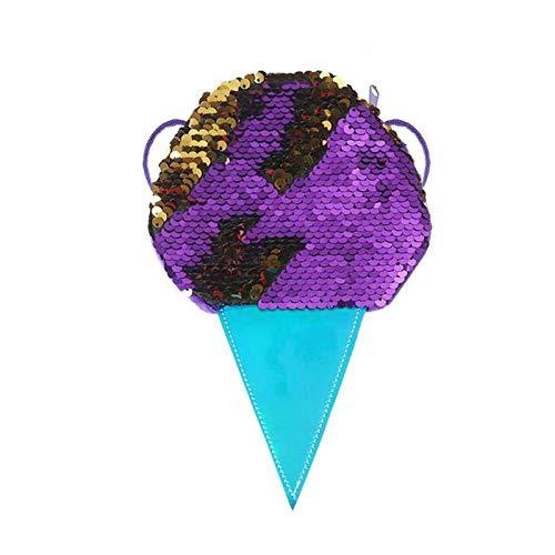 OneMoreT Süße Damen Münzbörse mit glitzernden Pailletten Eis Muster Schultertasche Mini-Kartenschlüssel Halter Taschen violett