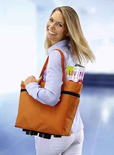 Dekoleidenschaft 2in1: Schultertasche & Einkaufstrolley, orange