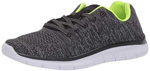 Amazon Essentials Kids' Knit Athletic Sneaker, Black/Lime, 2 M US Big Kid