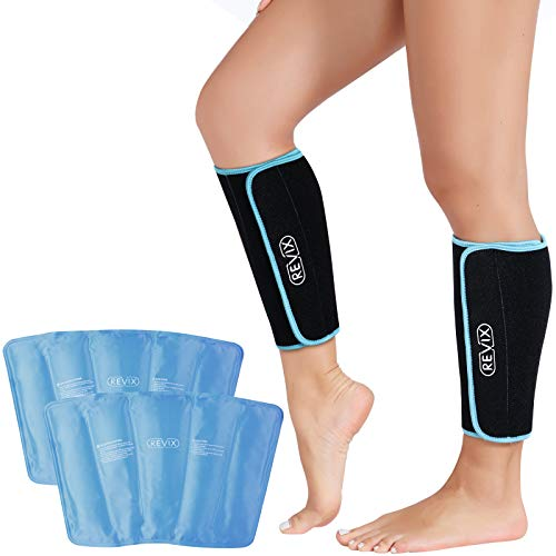 REVIX Calf and Shin Gel Ice Packs for Injuries Reusable Leg Cold Pack Wrap Cold Therapy Compression Sleeve for Swelling, Bruises, and Sprains, Shin Splints Leg Pain Relief Support