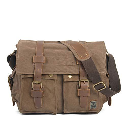 Canvas Leather Men Messenger Bags Big Satchel Shoulder Bags Male Laptop Briefcase Travel Handbag (Color : Light coffee)