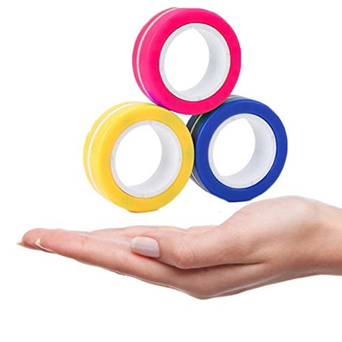 QAZXS 3 pc Fidget Toys Magnetic Bracelet Ring Unzip Toy Magic Ring Props Tools Decompression Toys Fidget Toys Magnet Rings-A