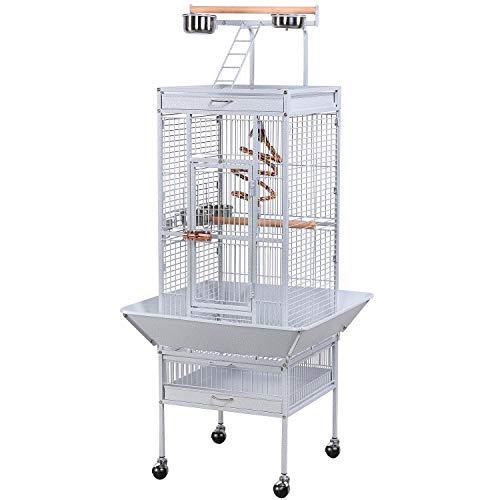 Yaheetech Vogelvoliere Vogelkäfig Käfig für Wellensittich Papageien 65,5 x 65,5 x 156 cm,Weiss