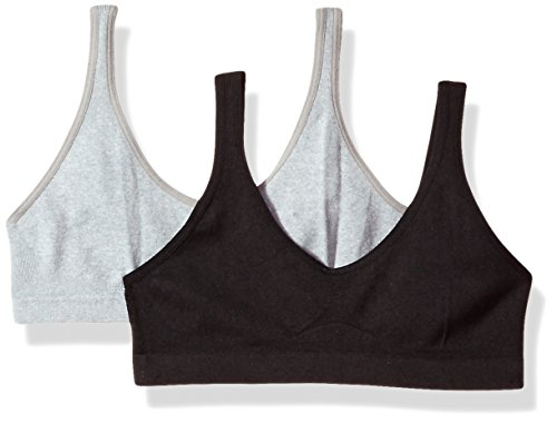 Hanes Big Girl's Seamless ComfortFlex Fit Cozy Pullover Bra 2-Pack Bra, Black/Heather Grey, X Large