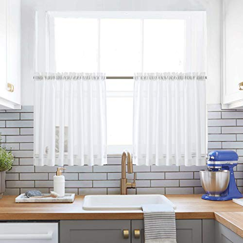 Off White Kitchen Tier Curtains Rod Pocket Linen Like Privacy Semi Sheer Drapes Half Window Curtain Panels for Bathroom, 2 Panels, 36' L