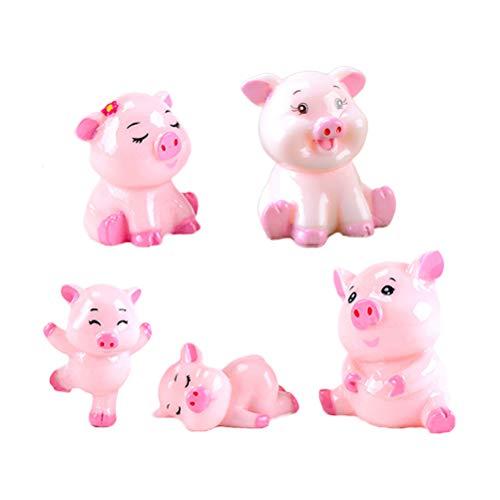 SUPVOX 5pcs Miniatura de cerdo en miniatura Cute Pink Pig Diminuto cerdo Figura Animales en miniatura para los adornos del jardín de hadas DIY Terrario Bonsai Micro Paisaje Decoración (rosa)