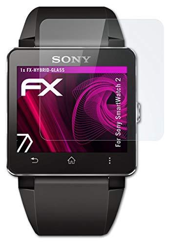 atFoliX Glasfolie kompatibel mit Sony SmartWatch 2 Panzerfolie, 9H Hybrid-Glass FX Schutzpanzer Folie