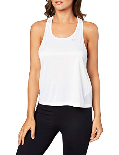 NIKE Miler Camiseta De Tirantes, Mujer, White/Reflective silv, XS