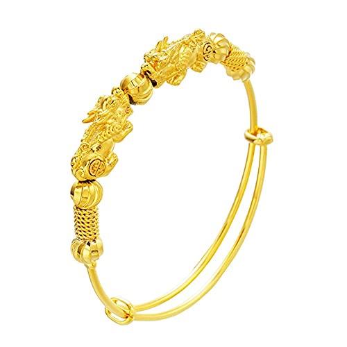 CLEARNICE Mujer Chica Fiesta Cumpleaños Boda Regalo Pixiu Beads Brazalete de Pulsera de Oro