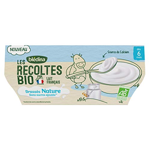 Blédina - Les Récoltes Bio - Brassés nature Bio et sans sucre ajouté pour bébé dès 6 mois - Pour les desserts de bébé - 4x100g