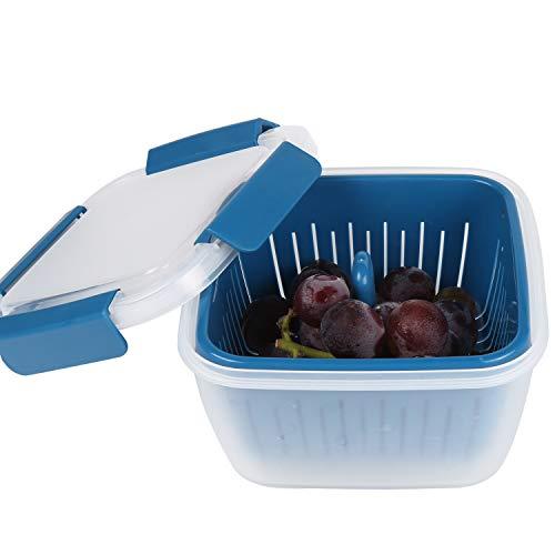 shopwithgreen Frischhaltedosen Schale mit Abtropfsieb,1.5 L Produce-Keeper,(17 * 17 * 10cm) Dose mit Abtropfsieb /50 oz   Transparent, Obst Box   1 Stück Frischhaltebox Blau