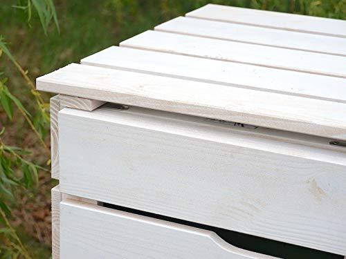 2er Mülltonnenbox / Mülltonnenverkleidung 120 L Holz, Transparent Geölt Weiß - 9