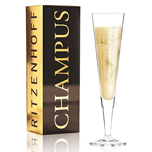 Ritzenhoff Copas de champán Champus de Lenka Kühnertová (Golden Fans) de cristal de 205 ml con refinados detalles de oro, incluye servilleta de tela