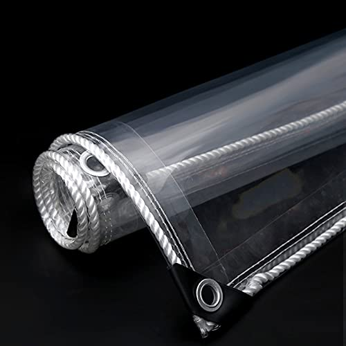 XXIOJUN Paño Impermeable Transparente Ignífugo De TPU Lona Impermeable con Ojales De Metal Plegable Resistente Al Desgarro para Muebles De Jardín, Piscina, Coche, Camión,