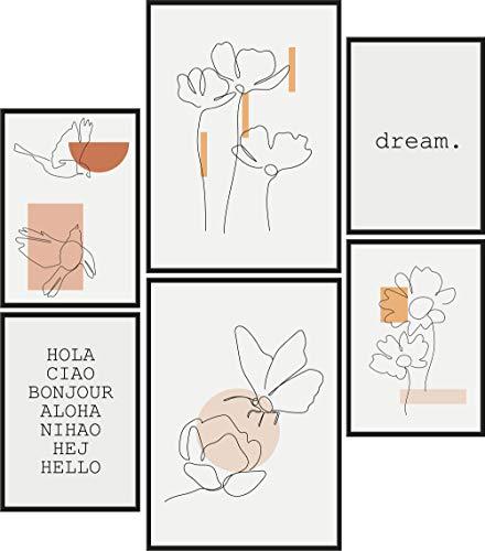 Papierschmiede® Mood-Poster Set Frühling Abstrakt   6 Bilder als stilvolle Wanddeko   2X DIN A4 und 4X DIN A5   Formen Linien Wall Art - ohne Rahmen