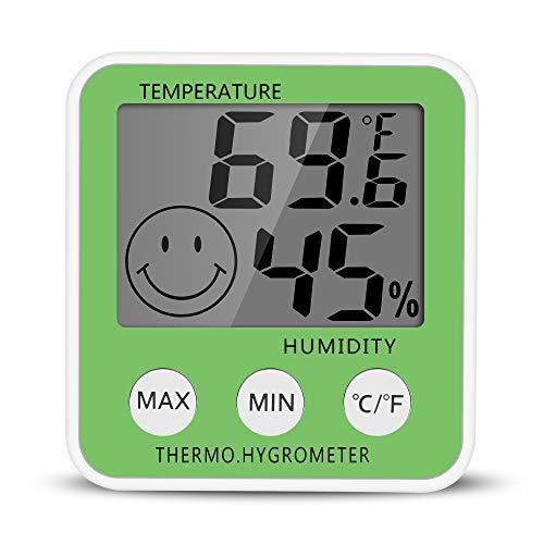 Gellvann Num/érique LCD Humidit/é Int/érieure M/ètre Thermom/ètre Num/érique Hygrom/ètre Thermom/ètre Chambre Thermom/ètre avec Stander /& R/éfrig/érateur Mount Aimant pour Humidificateurs D/&