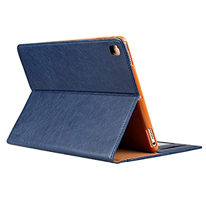 elecfan-iPad-Mini-4-Huellen-Multi-Winkel-Folio-Schutzhuelle-Smart-Cover-mit-Stifthalter-Dokumentschlitze-Standfunktion-fuer-Apple-iPad-Mini-1-iPad-Mini-2-iPad-Mini-3-iPad-Mini-4-Tablette-Blau