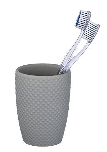 WENKO Zahnputzbecher Punto - Zahnbürstenhalter für Zahnbürste und Zahnpasta, Keramik, 8 x 11 x 8 cm, grau