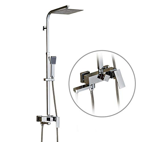 Check Out This Bathroom Rainfall Shower Faucet Set Single Handle Mixer Tap With 10 inch Hand Shower