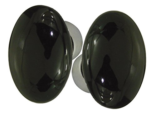 DT 2000253463doppio Pomello ovale in porcellana nero lucido/acciaio nichelato satinato