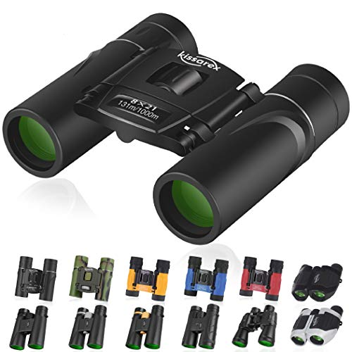 Kissarex Adults Compact Travel Binoculars: 8x21 Mini Small Size Lightweight Best Outdoor Theatre Tactical Hiking Kids Concert Sports Camping Low-Light Night Vision Waterproof …
