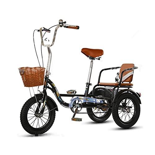 Triciclo para adultos bicicleta Bicicleta De Crucero De Tres Ruedas 14/16 Pulgadas Para Adultos Bicicleta De Acero Altas De Carbono 3 Motos De Ruedas Con Asiento Trasero Y Cesta De Compra(Size:16inch)