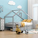 DXW-Y Daybed with Drawers Wood Toddler House Beach Bed Frame for Kids Twin Size Tent Bed Floor Bed, Gray (Color : Gray House Bed)