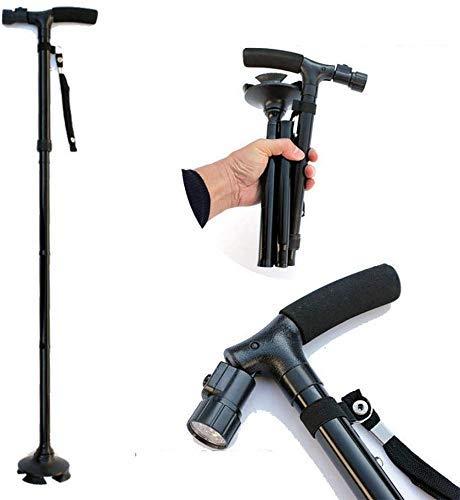 LIPENLI Adjustable Crutches, Foldable Canes Walking Stick Aluminum Alloy T Handle Non-Slip Base with Small 4 Leg Base with LED Light- Balck
